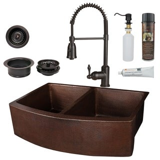Premier Copper Products - KSP4_KA50RDB33249 Kitchen Sink, Faucet and Accessories Package