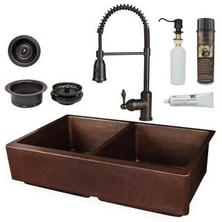 Premier Copper Products - KSP4_KA50DB35227 Retrofit Kitchen Sink, Faucet and Accessories Package