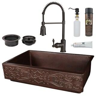 Premier Copper Products - KSP4_KASDB35227S Retrofit Kitchen Sink, Faucet and Accessories Package