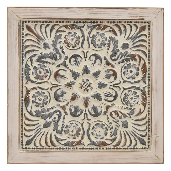 Metal/Wood- 2 Tone Wall Art Finished in White - 23.75 X 1.25 X 23.75