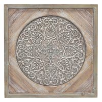 Metal/Wood Wall Art Finished in Brown - 30 X 1.25 X 30