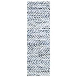 Striped Blue Jeans & Cotton (2.5'x12') Rug