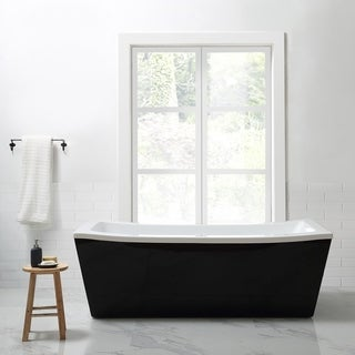 OVE Decors Eleanor 70 in. Black and White Freestanding Bathtub