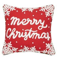 Merry Christmas Chenille Embroidered Pillow