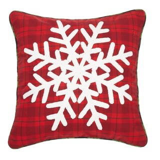 Plaid Snowflake Chenille Embroidered Pillow