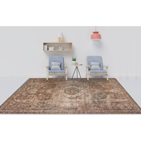 Ethereal May Vintage Medallion Durable Power-loomed Area Rug