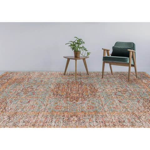 "Ethereal Vintage Teal/ Orange Area Rug - 9'10"" x 13'10"""