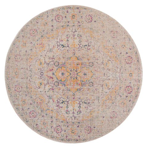 """Eternal Vintage Pink Round Rug - 6'7"""" x 6'7"""" Round"""