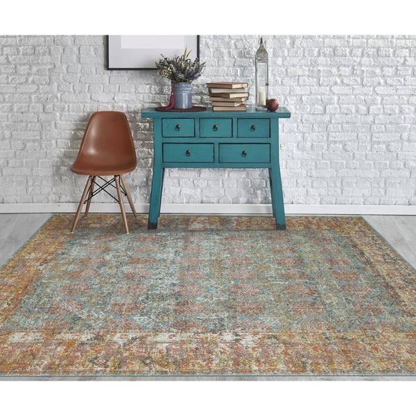 """Ethereal Vintage Turquoise Accent Rug - 2'2"""" x 3'"""