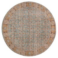 "Ethereal Vintage Teal Round Rug - 6'7"" x 6'7"" Round"