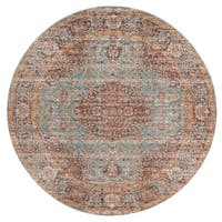 "Ethereal Vintage Teal/ Orange Round Rug - 6'7"" x 6'7"" Round"