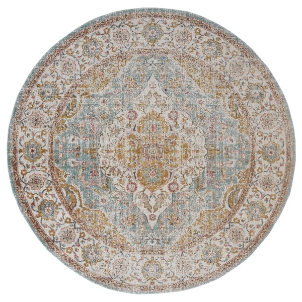 "Ethereal Vintage Gold Round Rug - 6'7"" x 6'7"" Round"