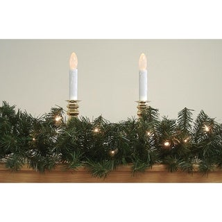 """9' x 14"""" Pre-Lit Canadian Pine Artificial Xmas Garland - Clear Lights"""