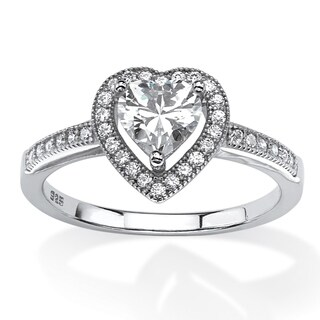 Platinum over Sterling Silver Heart Halo Engagement Ring CZ - White