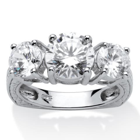 Platinum over Sterling Silver Round 3-Stone Bridal Ring Cubic Zirconia - White