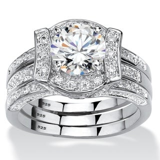 Platinum over Sterling Silver Round Bridal Ring Set Cubic Zirconia - White
