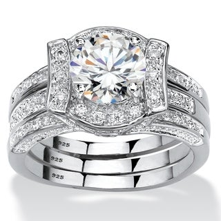 Link to Platinum over Sterling Silver Round Bridal Ring Set Cubic Zirconia - White Similar Items in Rings