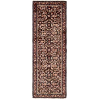 Hand Knotted Farahan Semi Antique Wool Runner Rug - 3' 6 x 10' 3