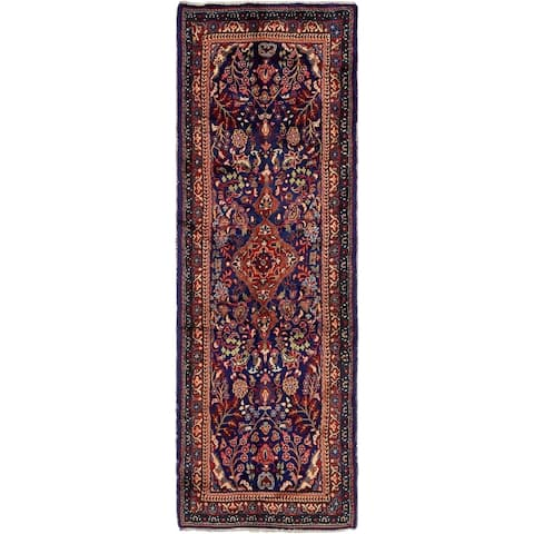 Hand Knotted Farahan Wool Runner Rug - 3' 6 x 10' 9