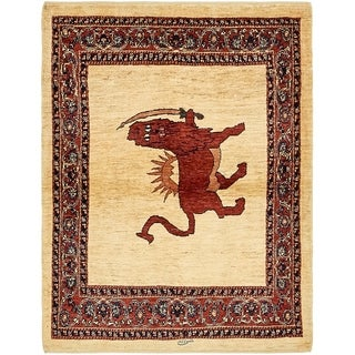 Hand Knotted Ghashghaei Wool Area Rug - 3' 10 x 5'