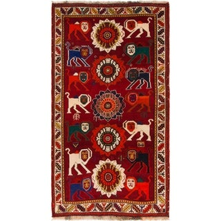 Hand Knotted Ghashghaei Semi Antique Wool Area Rug - 3' 6 x 6' 7