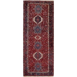 Hand Knotted Gharajeh Semi Antique Wool Runner Rug - 4' 10 x 12' 8