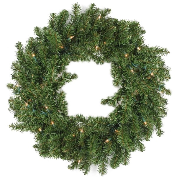 30 Battery Operated Pre Lit Led Pine Xmas Wreath Clear Lights Free Shipping Today 23155384