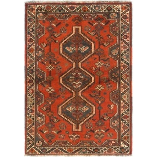 Hand Knotted Ghashghaei Wool Area Rug - 3' 7 x 5' 3