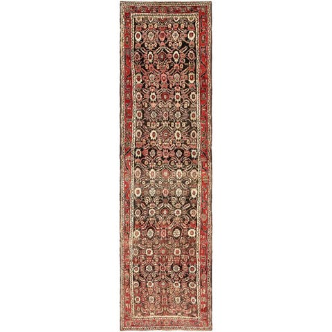 Hand Knotted Hamedan Semi Antique Wool Runner Rug - 3' 8 x 13' 10