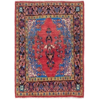 Hand Knotted Golpayegan Semi Antique Wool Area Rug - 4' 8 x 6' 6