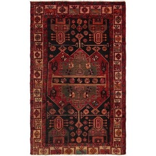 Hand Knotted Hamedan Semi Antique Wool Area Rug - 4' x 7' 3