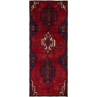 Hand Knotted Hamedan Semi Antique Wool Runner Rug - 4' x 10' 7