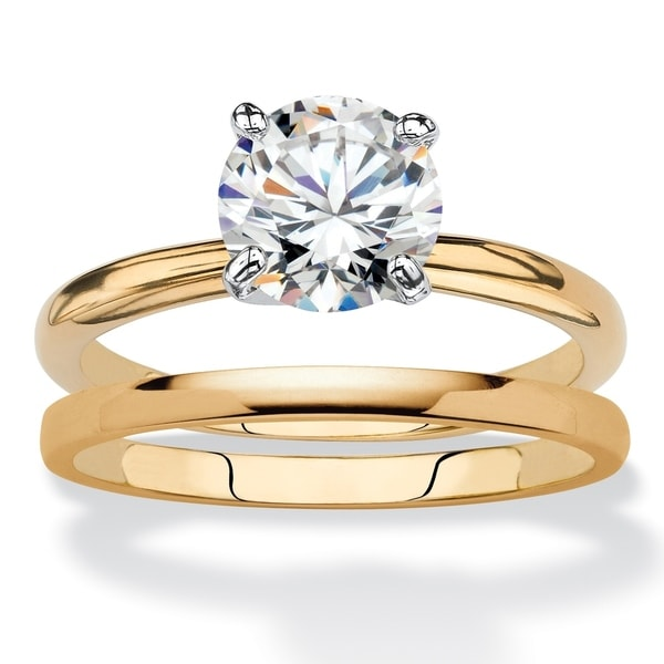 Yellow Gold Plated Cubic Zirconia Bridal Ring Set White