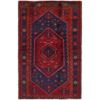 Hand Knotted Hamedan Semi Antique Wool Area Rug - 4' 4 x 7'