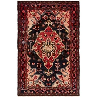 Hand Knotted Hamedan Semi Antique Wool Area Rug - 4' 3 x 6' 5