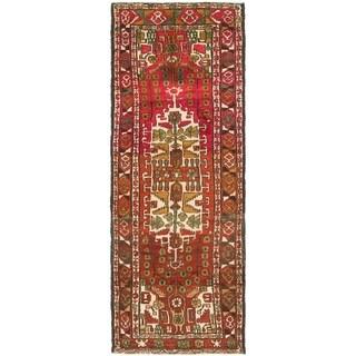 Hand Knotted Hamedan Semi Antique Wool Runner Rug - 3' 5 x 9' 6