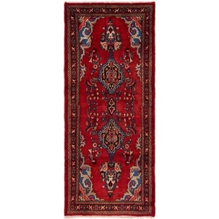 Hand Knotted Hamedan Semi Antique Wool Runner Rug - 3' 7 x 8' 7