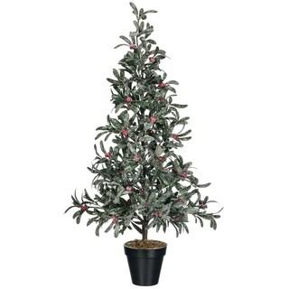 """Snowy Mistletoe & Red Berry Tree - 17""""l x 17""""w x 35""""h"""