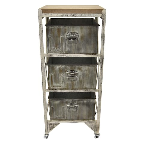 Three Hands Grey Metal and Wood 3-drawer Cabinet
