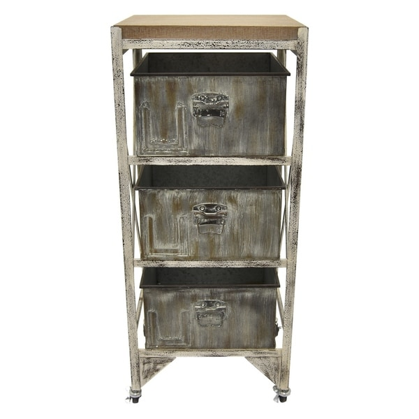 Metal / Wood Cabinet Finished in Gray - 15.5 X 13.75 X 37.5