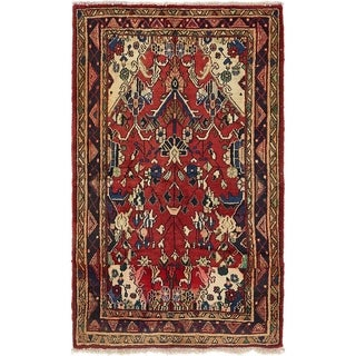 Hand Knotted Hamedan Semi Antique Wool Area Rug - 3' 6 x 6'