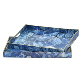 "1.5 "" Set Of Two Trays in Blue - 18.75x13.75x1.5/18x11.75x1.5"