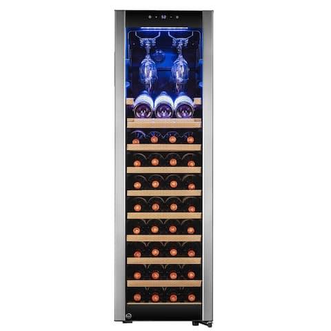AKDY 46 Bottle Touch Panel Single Zone Wood Shelf Freestanding Compressor Wine Cooler