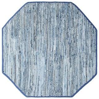 Striped Blue Jeans & Cotton (8'x8') Octagon Rug - 8' x 8'