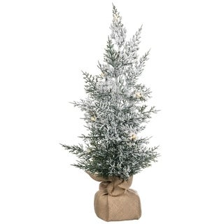 """Flocked Lighted Pine Tree with Canvas Base - 13""""l x 13""""w x 25""""h"""