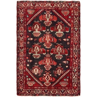 Hand Knotted Hamedan Semi Antique Wool Area Rug - 4' 3 x 6' 8