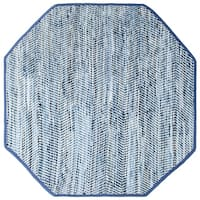 Striped Blue Jeans & Cotton (10'x10') Octagon Rug - 10' x 10'