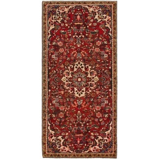 Hand Knotted Hamedan Semi Antique Wool Runner Rug - 4' x 8' 9