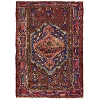 Hand Knotted Hamedan Semi Antique Wool Area Rug - 4' 2 x 6'