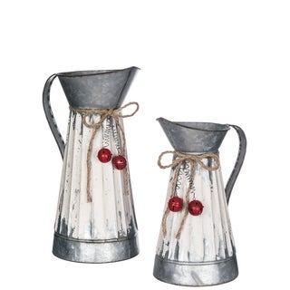 "Rustic White Metal Pitchers - Set of 2 - 6""l x 6""w x 12""h, 7""l x 7""w x 15""h"